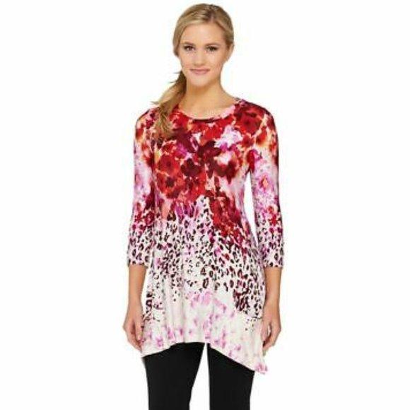 LOGO Lori Goldstein Floral Animal Print Tunic Top